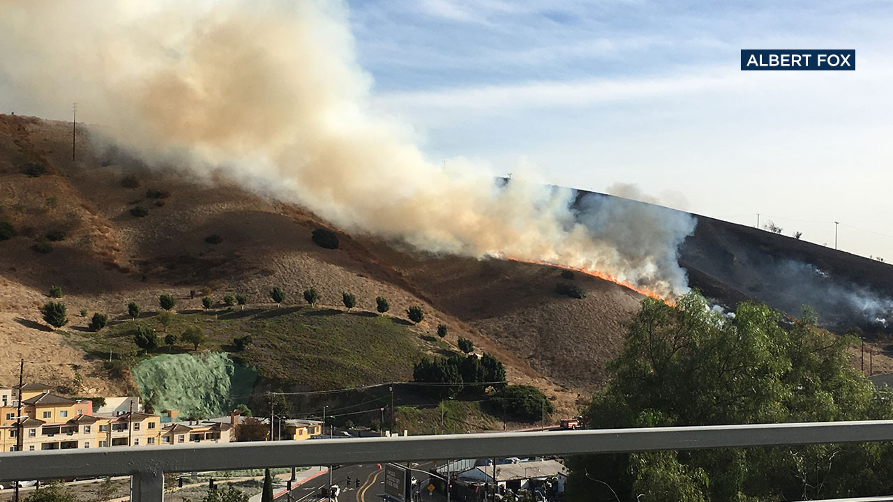 A five-acre brush fire broke out and was burning uphill near El Sereno and Lincoln Heights Friday.