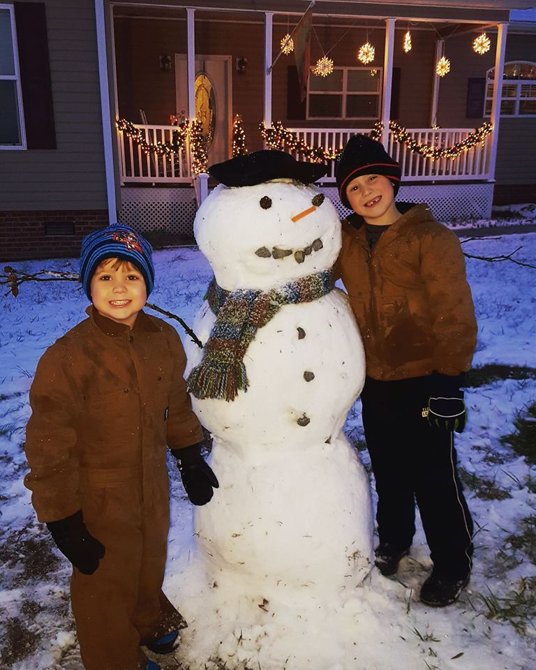 <div class='meta'><div class='origin-logo' data-origin='none'></div><span class='caption-text' data-credit='Credit: Amanda and Nick Solomon'>A snowman has been made in Roxboro</span></div>