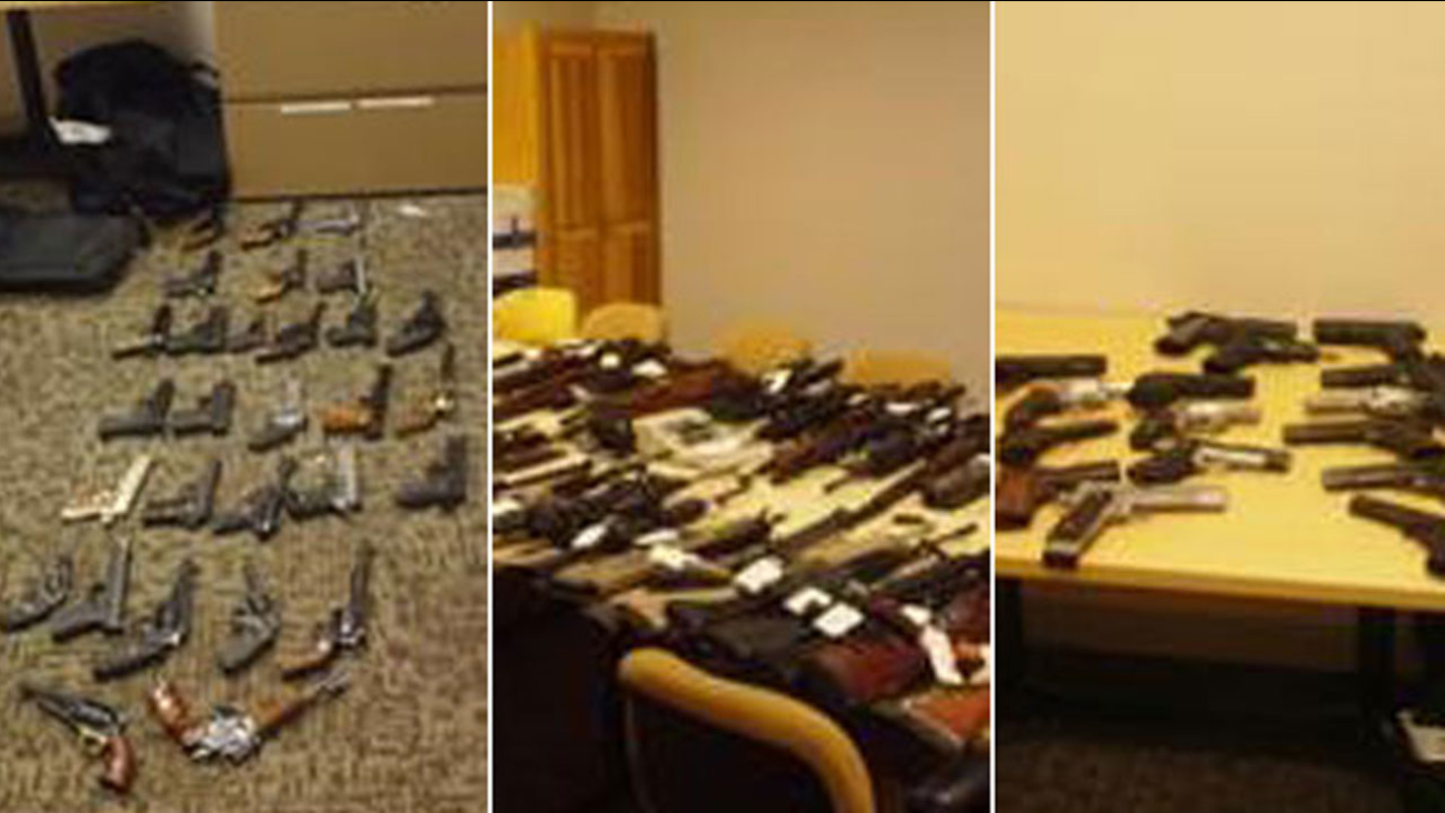 Nearly 150 guns and rifles seized by Santa Clarita Valley Sheriff's Station deputies after a barricade in Newhall on Wednesday, Dec. 6 2017.