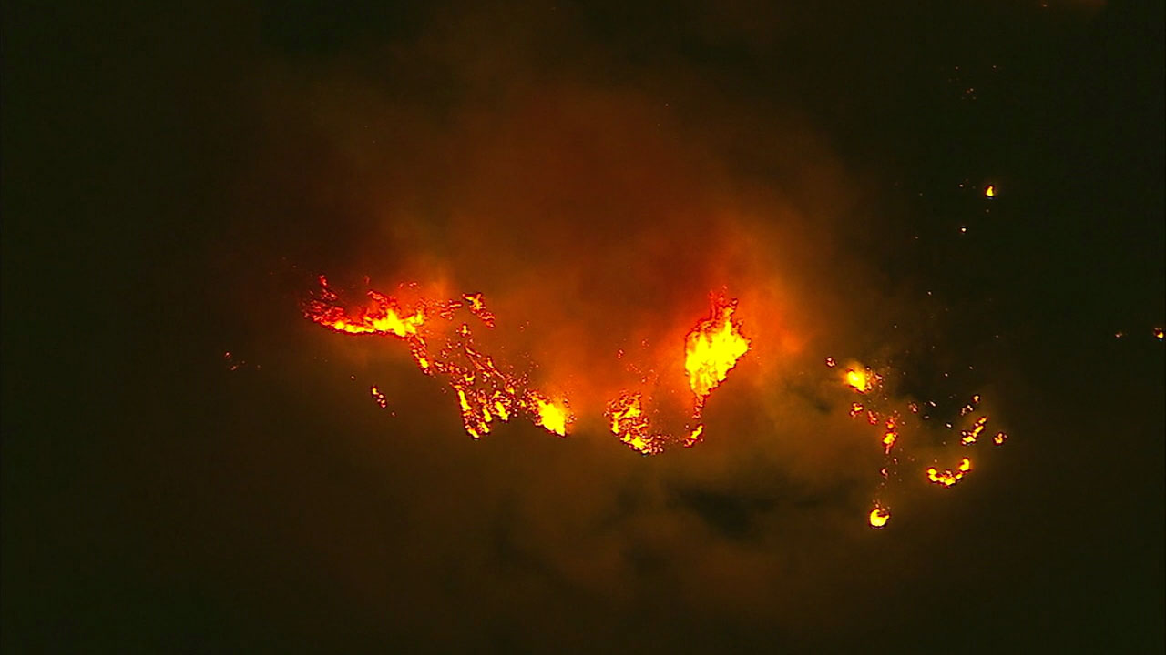 The Thomas Fire burns through dry brush in the Los Padres National Forest near Fillmore on Friday, Dec. 8, 2017.
