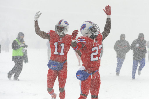 "<div class=""meta image-caption""><div class=""origin-logo origin-image ap""><span>AP</span></div><span class=""caption-text"">Buffalo Bills' Tre'Davious White, right, and Zay Jones warm-up before an NFL football game between the Buffalo Bills and the Indianapolis Colts, Sunday, Dec. 10, 2017. (AP Photo/Adrian Kraus)</span></div>"