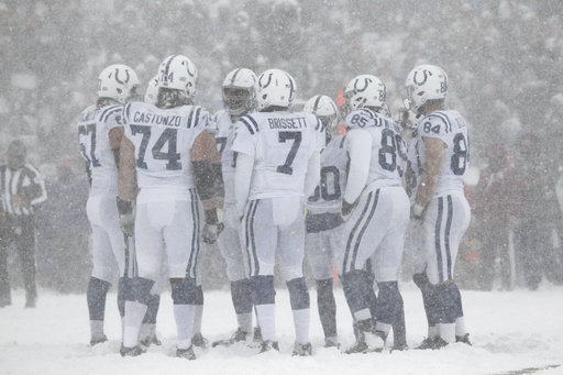 "<div class=""meta image-caption""><div class=""origin-logo origin-image ap""><span>AP</span></div><span class=""caption-text"">The Indianapolis Colts huddle during the first half of an NFL football game against the Buffalo Bills, Sunday, Dec. 10, 2017, in Orchard Park, N.Y. (AP Photo/Jeffrey T. Barnes)</span></div>"