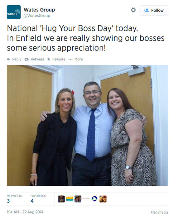 "<div class=""meta image-caption""><div class=""origin-logo origin-image ""><span></span></div><span class=""caption-text"">Twitter users celebrate the chance to hug it out with their bosses today. (WatesGroup/Twitter)</span></div>"
