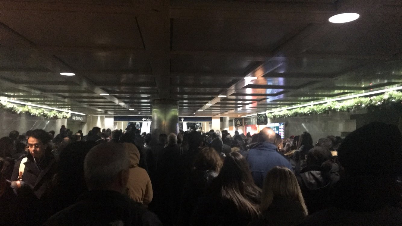 <div class='meta'><div class='origin-logo' data-origin='WABC'></div><span class='caption-text' data-credit='Brooke DiPalma via Twitter'>This is Penn Station following a pipe bomb explosion at the Port Authority Bus Terminal in Manhattan, New York City.</span></div>