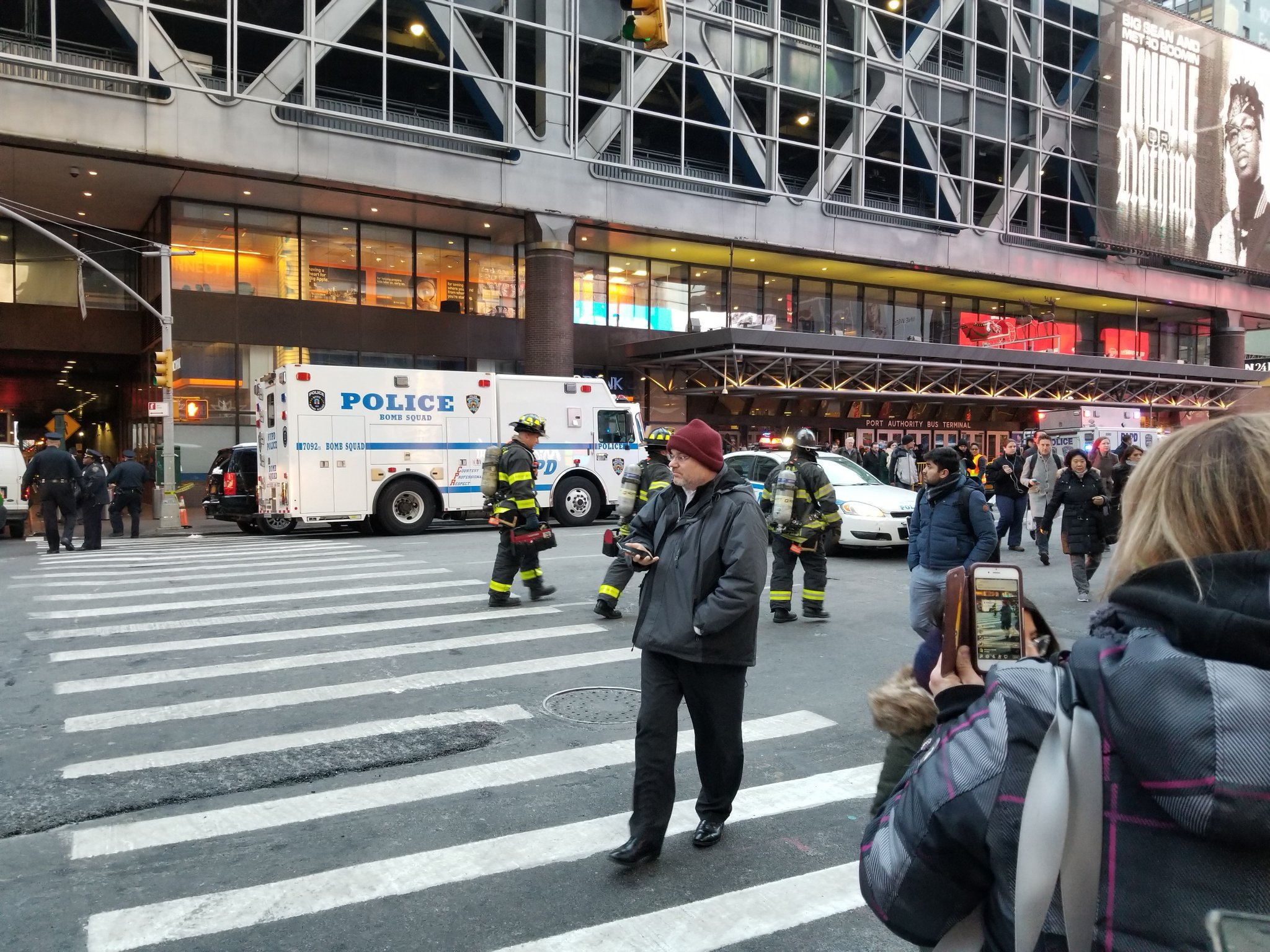 <div class='meta'><div class='origin-logo' data-origin='WABC'></div><span class='caption-text' data-credit='Bill Sweet via Twitter'>Photos from the scene of a pipe bomb explosion at the Port Authority Bus Terminal in Manhattan, New York City.</span></div>