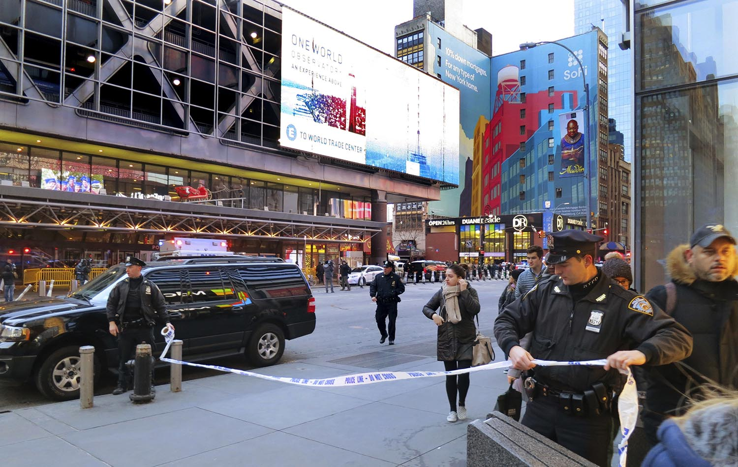 "<div class=""meta image-caption""><div class=""origin-logo origin-image ap""><span>AP</span></div><span class=""caption-text"">Police secure Eighth Avenue outside the Port Authority Bus Terminal following an explosion near New York's Times Square on Monday, Dec. 11, 2017. (AP Photo/Chuck Zoeller)</span></div>"