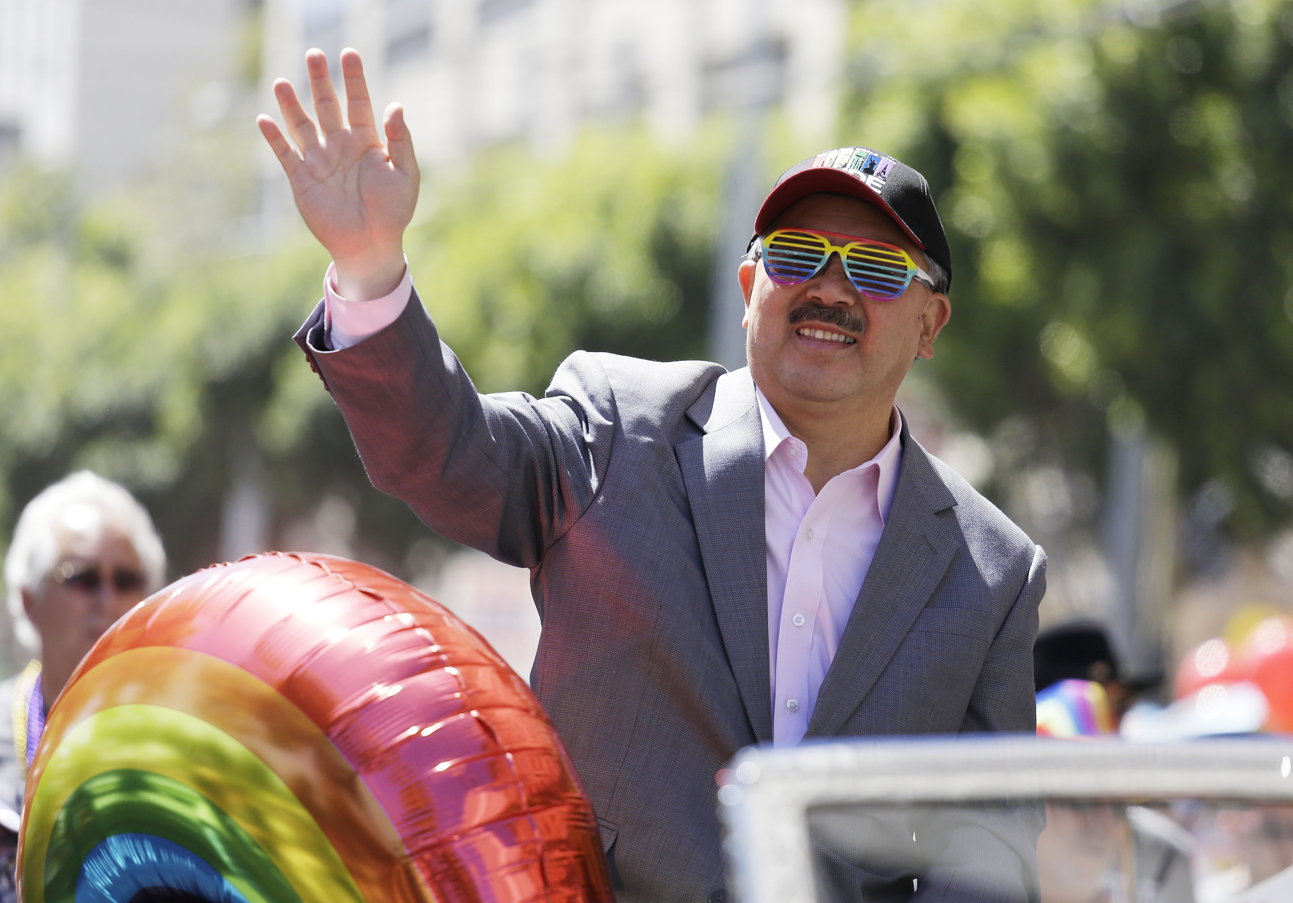 <div class='meta'><div class='origin-logo' data-origin='none'></div><span class='caption-text' data-credit='Eric Risberg/AP Photo'>San Francisco Mayor Ed Lee waves during the 44th annual Gay Pride parade Sunday, June 29, 2014, in San Francisco.</span></div>