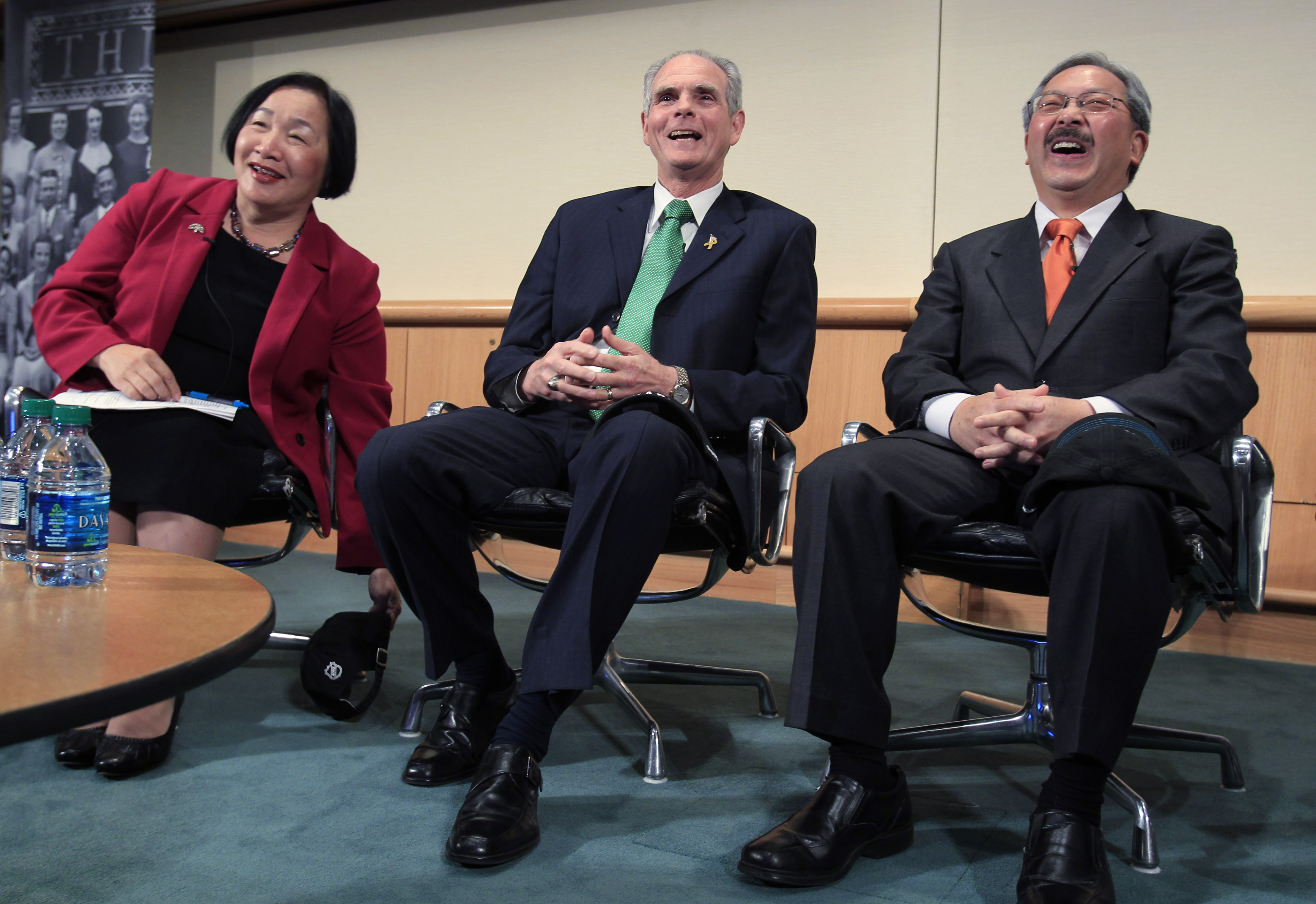 <div class='meta'><div class='origin-logo' data-origin='none'></div><span class='caption-text' data-credit='Paul Sakuma/AP Photo'>Oakland Mayor Jean Quan, left, San Jose Mayor Chuck Reed and SF Mayor Ed Lee, right, laugh at the 8th Annual CEO Summit at IBM offices in San Jose, Calif., Friday, April 22, 2011.</span></div>