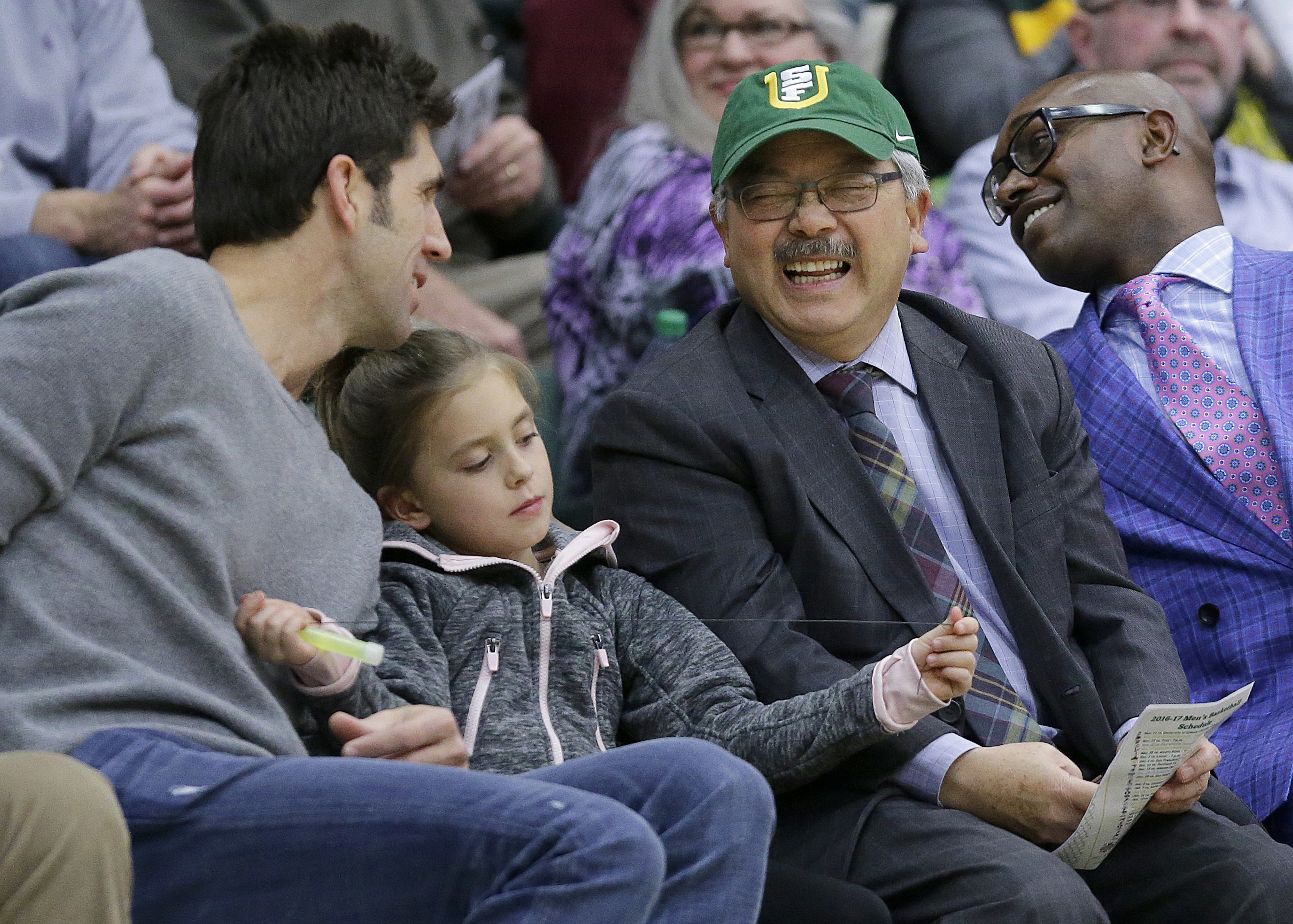 <div class='meta'><div class='origin-logo' data-origin='none'></div><span class='caption-text' data-credit='Jeff Chiu/AP Photo'>Mayor Ed Lee laughs as he talks with Golden State Warriors general manager Bob Myers during an NCAA college basketball game between San Francisco and Gonzaga, Jan. 5, 2017.</span></div>