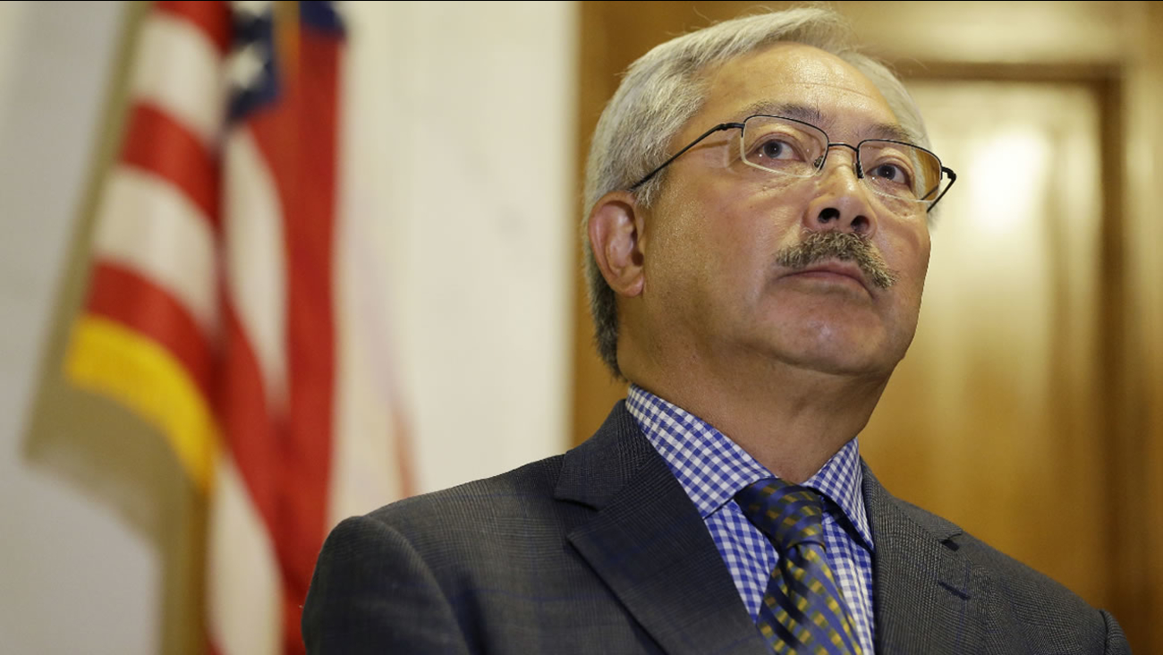 San Francisco Mayor Ed Lee listens to questions during a news conference at City Hall Tuesday, Aug. 15, 2017, in San Francisco. (AP Photo/Eric Risberg)
