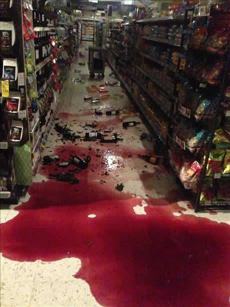 "<div class=""meta image-caption""><div class=""origin-logo origin-image ""><span></span></div><span class=""caption-text"">Wine spilled onto the floor of a Walgreen in Vallejo after a 6.0-magnitude earthquake struck the northern Bay Area Sunday, Aug. 24, 2014. (Ana Cornelio via uReport)</span></div>"