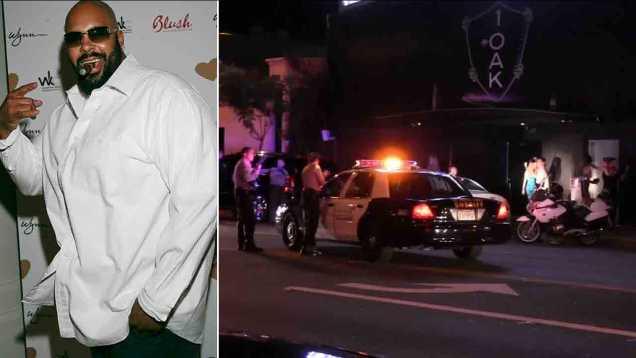 Suge Knight is seen in this undated file photo (left). Los Angeles County sheriff's deputies respond to the scene of a shooting at 1OAK nightclub Sunday, Aug. 24, 2014 (right).
