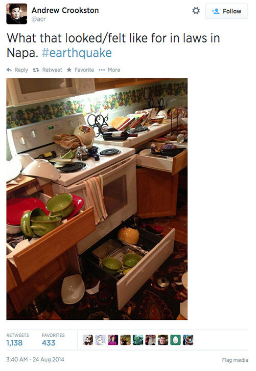 "<div class=""meta image-caption""><div class=""origin-logo origin-image ""><span></span></div><span class=""caption-text"">Northern California residents post photos of the earthquake damage online, and respond to concerned tweets from around the nation. (acr / Twitter)</span></div>"