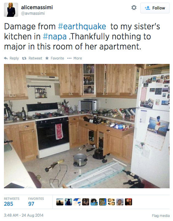 "<div class=""meta image-caption""><div class=""origin-logo origin-image ""><span></span></div><span class=""caption-text"">Northern California residents post photos of the earthquake damage online, and respond to concerned tweets from around the nation. (avmassimi / Twitter)</span></div>"