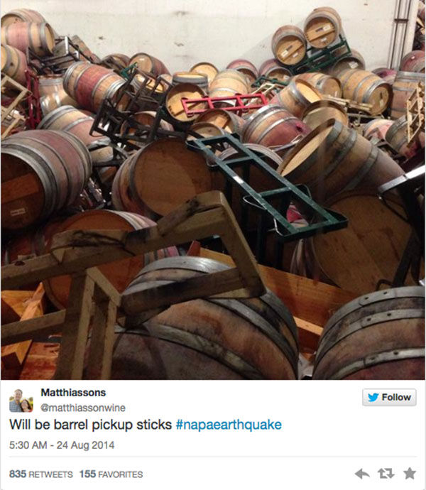 "<div class=""meta image-caption""><div class=""origin-logo origin-image ""><span></span></div><span class=""caption-text"">Winemaker Steve Mathiason tweeted that all of his red barrels were on the floor. (matthiassonwine / Twitter)</span></div>"