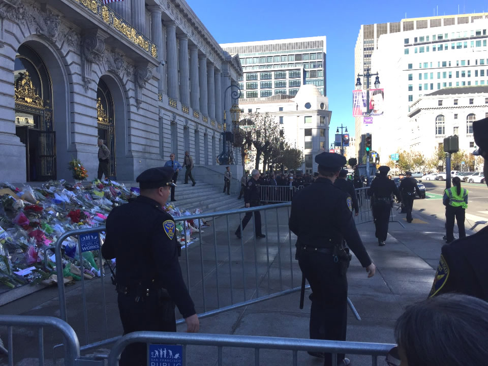 "<div class=""meta image-caption""><div class=""origin-logo origin-image none""><span>none</span></div><span class=""caption-text"">San Francisco police are seen at the steps of City Hall ahead of San Francisco Mayor Ed Lee's memorial service on Sunday, Dec. 17, 2017. (Elissa Harrington/KGO-TV)</span></div>"