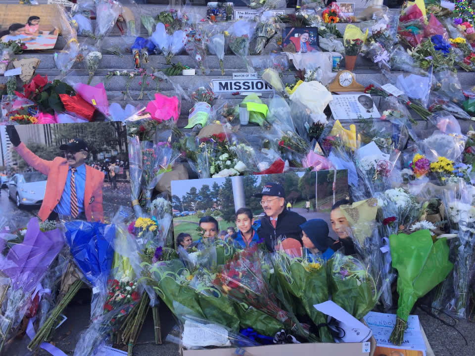 "<div class=""meta image-caption""><div class=""origin-logo origin-image none""><span>none</span></div><span class=""caption-text"">Flowers and photos left on the steps of City Hall are seen ahead of San Francisco Mayor Ed Lee's memorial service on Sunday, Dec. 17, 2017. (Elissa Harrington/KGO-TV)</span></div>"