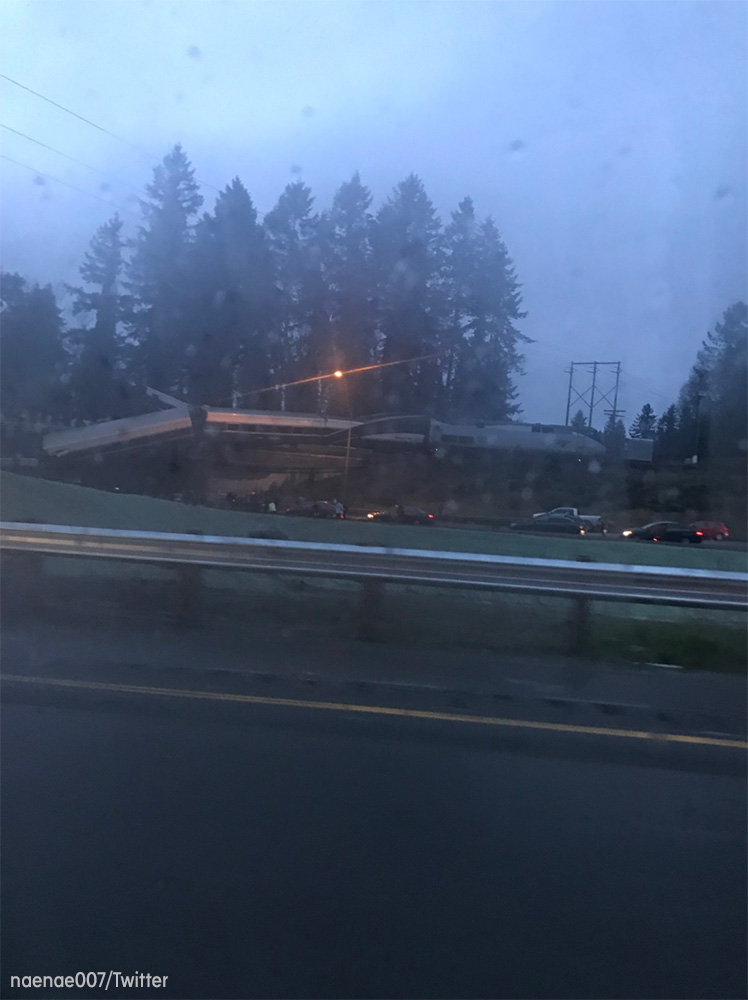 <div class='meta'><div class='origin-logo' data-origin='none'></div><span class='caption-text' data-credit='naenae007/Twitter'>An Amtrak train traveling between Seattle and Portland derailed and fell off an overpass onto Interstate-5 south of Tacoma, Washington.</span></div>