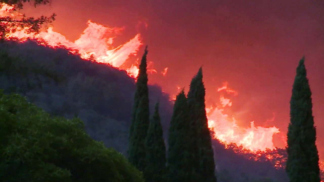 Flames from the Thomas Fire are seen in this undated photo.