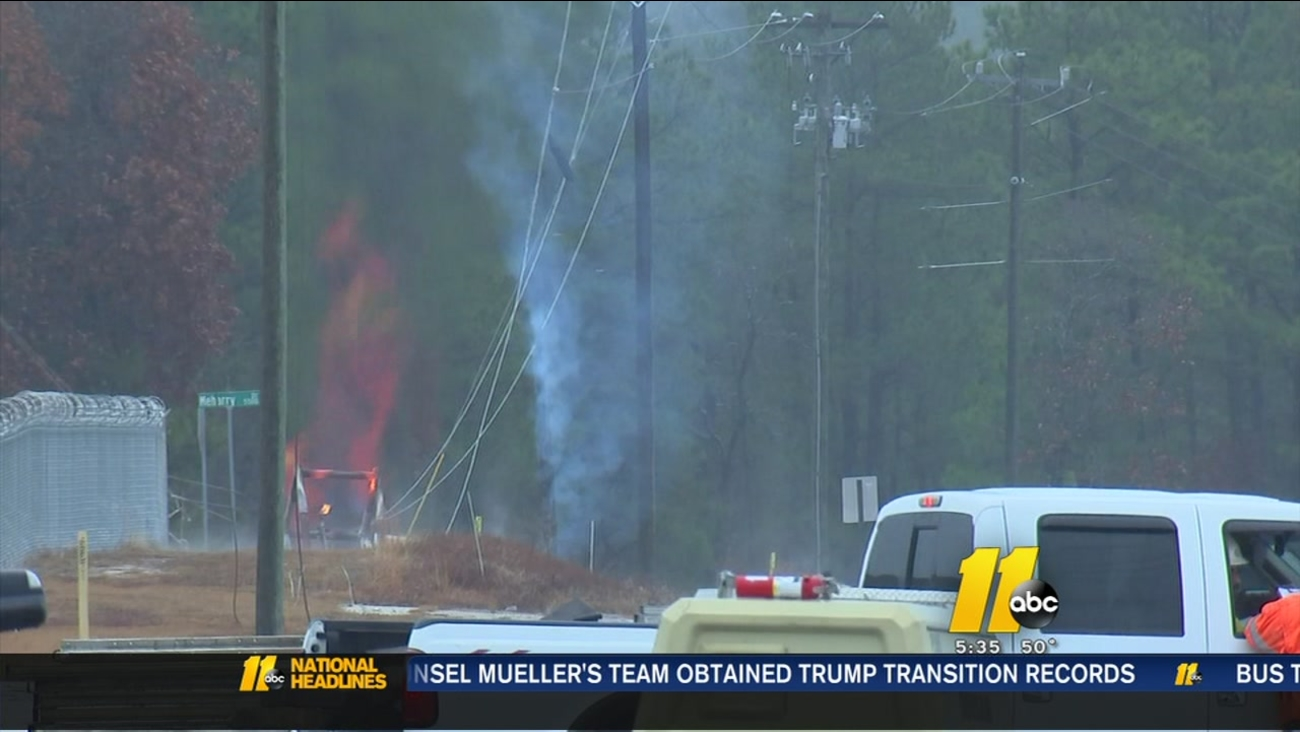 Gas fire still burns as Fayetteville road remains closed