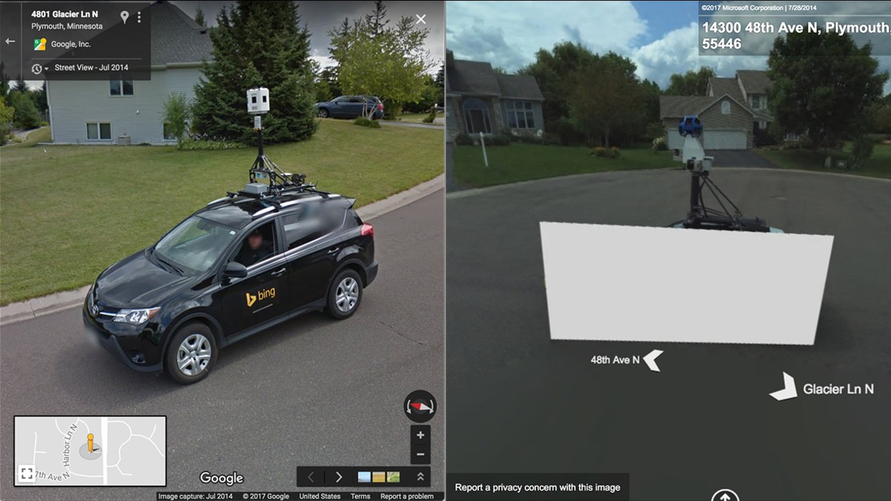 Funny Moment Shows Bing Maps Blocking Out Google Maps Car