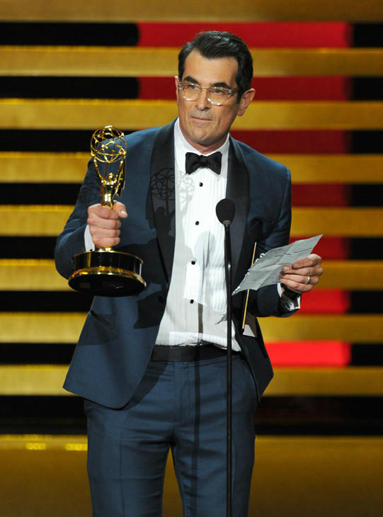 "<div class=""meta image-caption""><div class=""origin-logo origin-image ""><span></span></div><span class=""caption-text"">''Modern Family'' had a five-peat, winning Outstanding Comedy Series again. For his actor award, Ty Burrell read a speech the show's kids had prepared for him. (Photo/Vince Bucci)</span></div>"