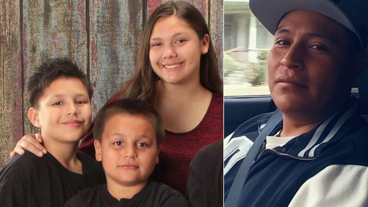 Riverside police are looking for Francisco Santos (right) in the abduction of three children from his estranged wife: Veronica Sweet, Christopher Sweet and Michael Santos Sweet.