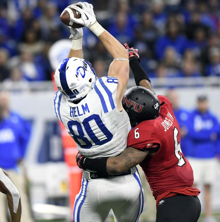 <div class='meta'><div class='origin-logo' data-origin='AP'></div><span class='caption-text' data-credit='Jose Juarez'>Duke tight end Daniel Helm (80) makes the catch over Northern Illinois linebacker Bobby Jones IV (6) during the second half of the Quick Lane Bowl.</span></div>