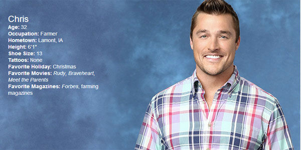 """<div class=""""meta image-caption""""><div class=""""origin-logo origin-image """"><span></span></div><span class=""""caption-text"""">Learn more about Chris' time on the Bachelorette and weigh in below: How do you think he'll do? (ABC)</span></div>"""