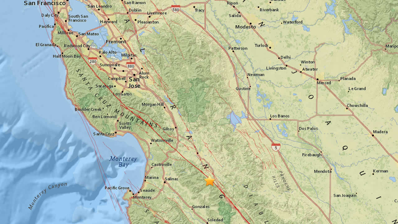 The USGS reports a 3.4 earthquake struck near Hollister, Calif. on Wednesday, Dec. 27, 2017.