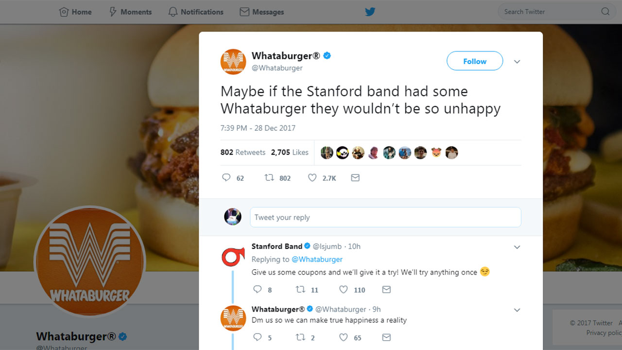 WHATABURN: Whataburger defends Texas and claps back at Stanford\'s ...