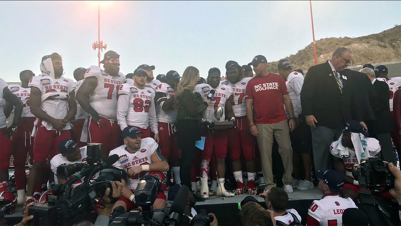 NC State's Nyheim Hines was named MVP of the Sun Bowl after the Wolfpack's 52-31 win over Arizona State.