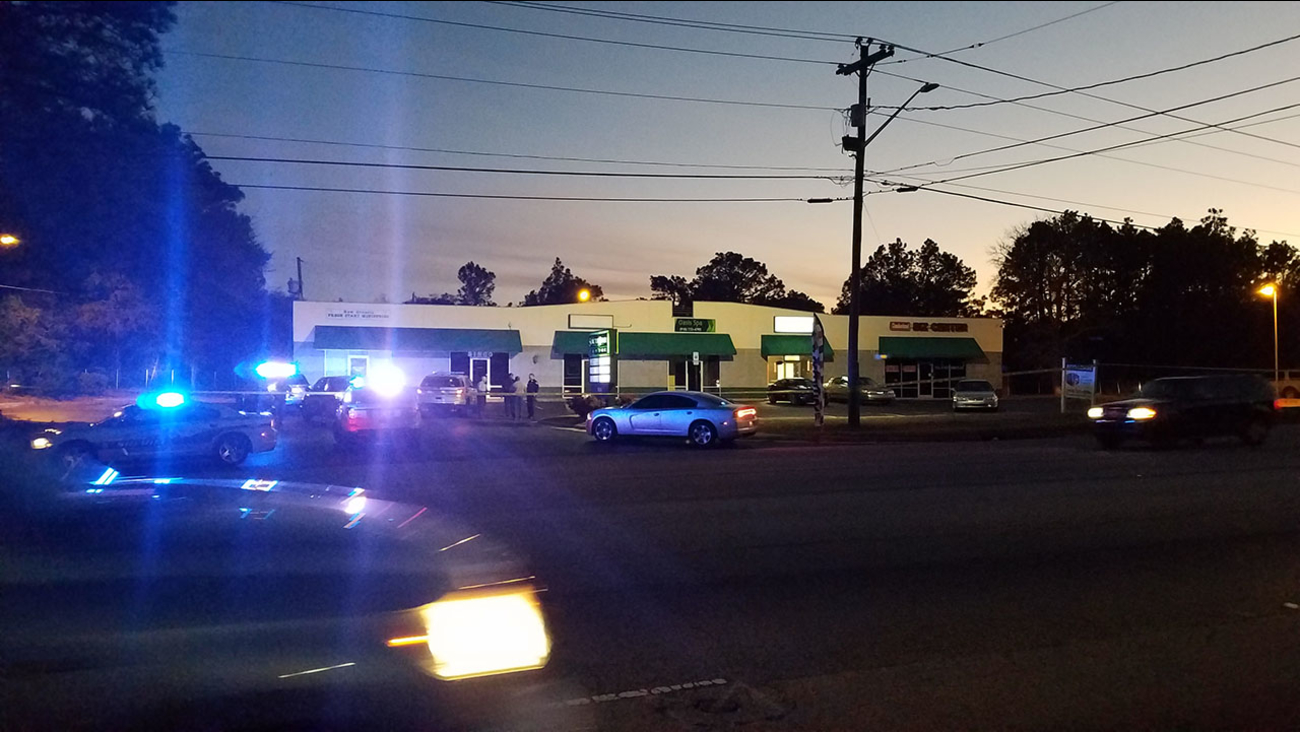 Authorities investigate a double shooting Friday.