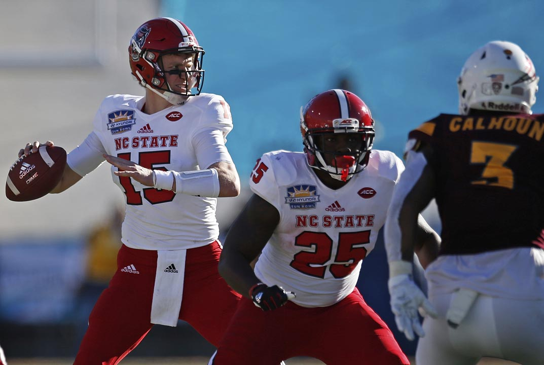 <div class='meta'><div class='origin-logo' data-origin='AP'></div><span class='caption-text' data-credit='Andres Leighton'>North Carolina State quarterback Ryan Finley, left, throws against Arizona State.</span></div>