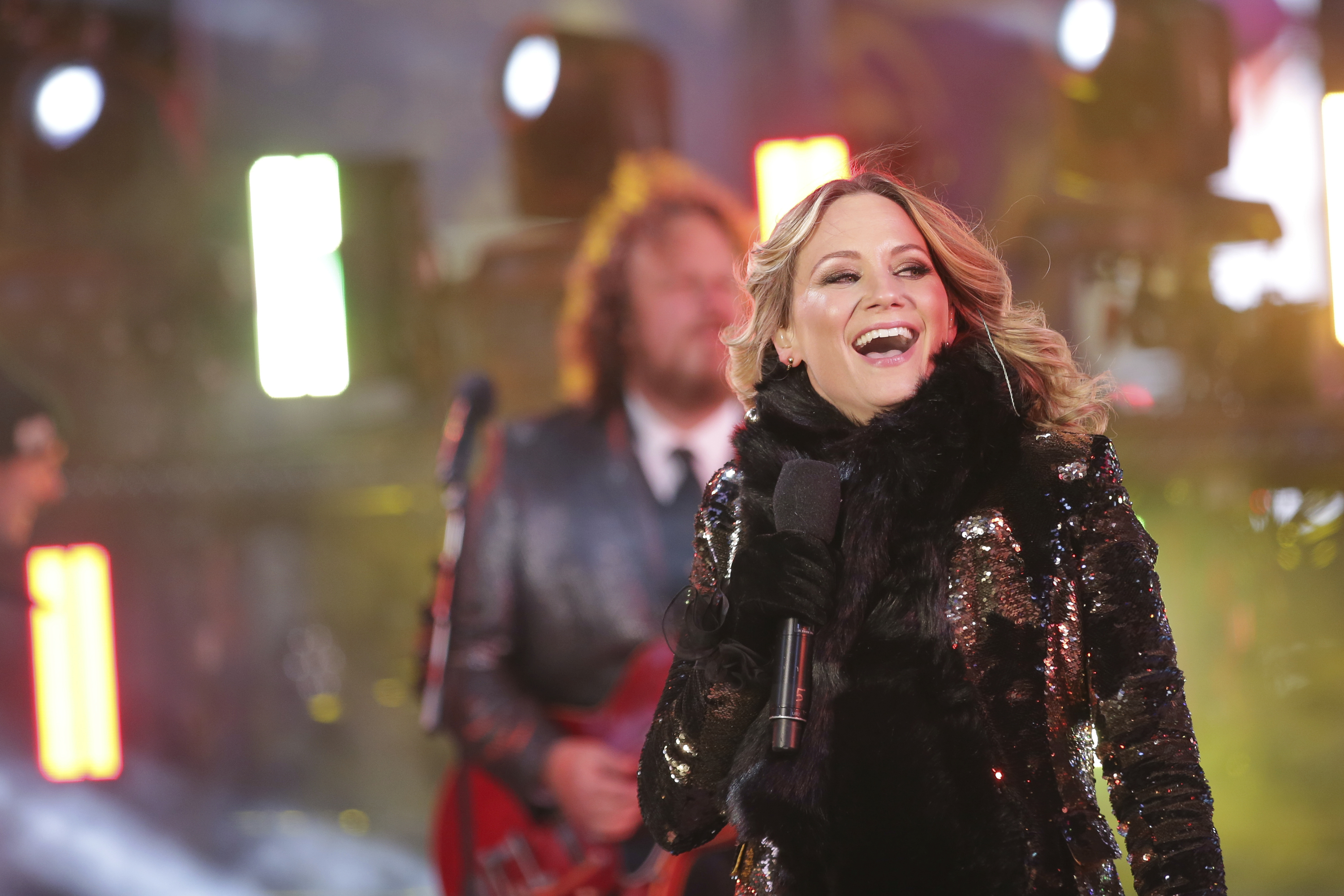 <div class='meta'><div class='origin-logo' data-origin='AP'></div><span class='caption-text' data-credit='Brent N. Clarke/Invision/AP'>Jennifer Nettles, of Sugarland, performs on stage at the New Year's Eve celebration in Times Square on Sunday, Dec. 31, 2017, in New York. (Photo by Brent N. Clarke/Invision/AP)</span></div>
