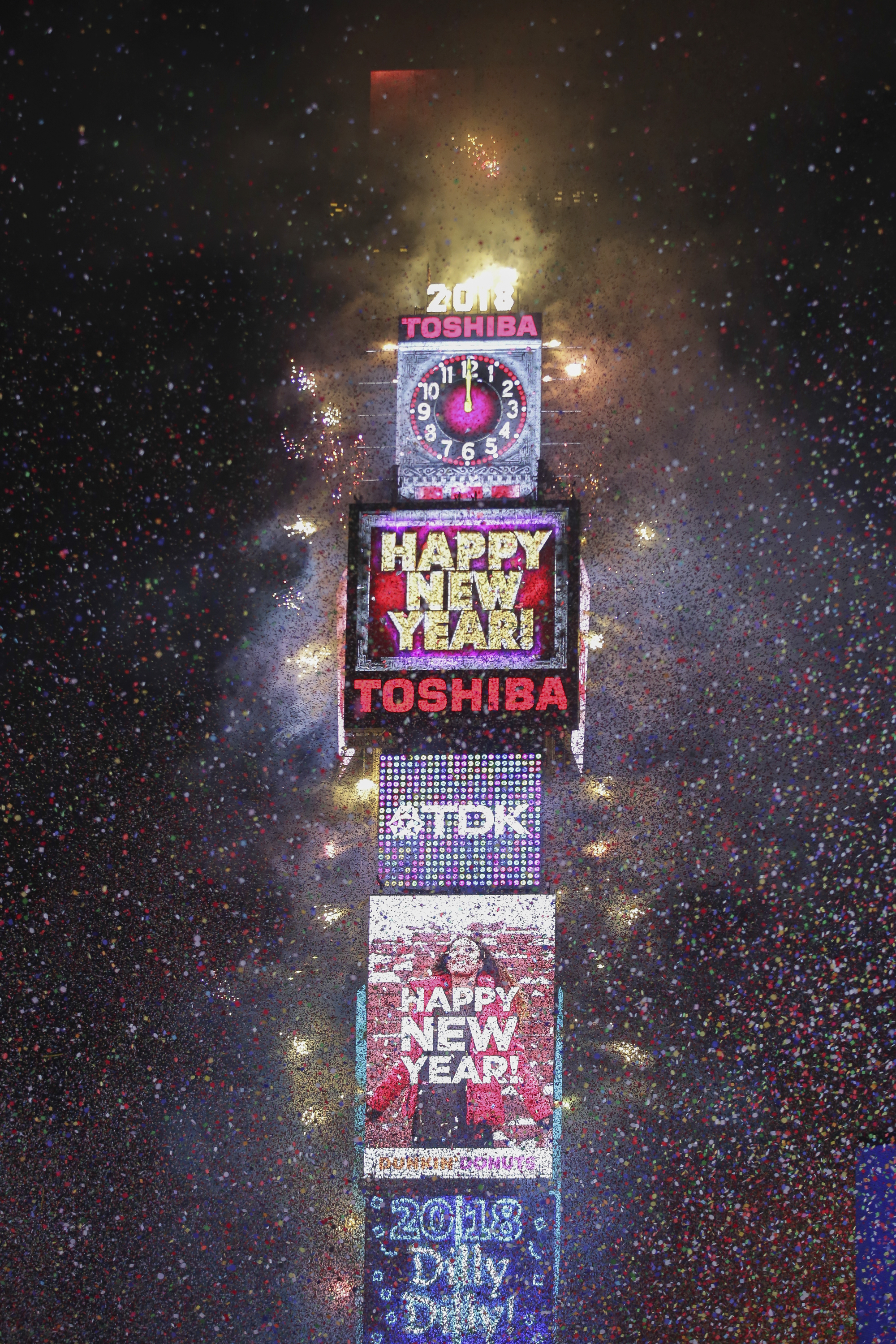 "<div class=""meta image-caption""><div class=""origin-logo origin-image ap""><span>AP</span></div><span class=""caption-text"">The ball drops during the New Year's Eve celebration in Times Square on Sunday, Dec. 31, 2017, in New York. (Photo by Brent N. Clarke/Invision/AP) (Brent N. Clarke/Invision/AP)</span></div>"