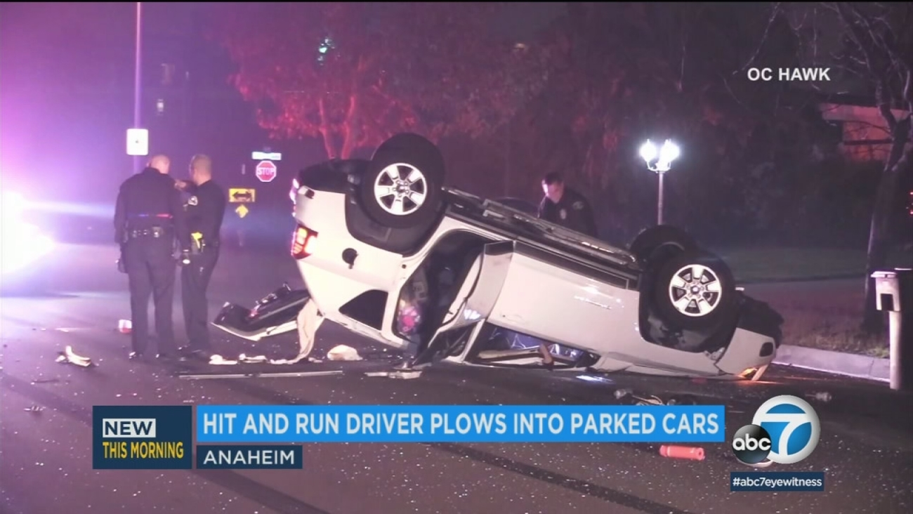 Hit And Run Driver Plows Into Parked Cars On Anaheim Street Abc7 Com