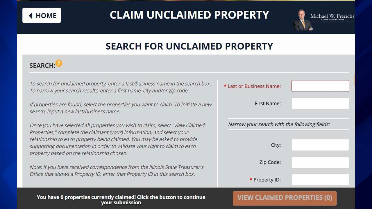 claim form search site property unclaimed