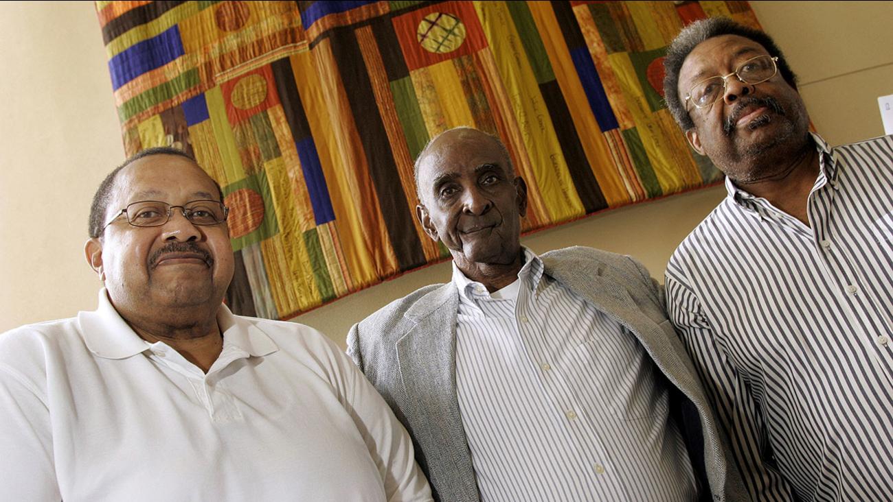 From left, Ralph Frasier, John Lewis Brandon, and LeRoy Frasier, the first black undergraduate students at UNC Chapel Hill, reunite on Sept. 17, 2010.