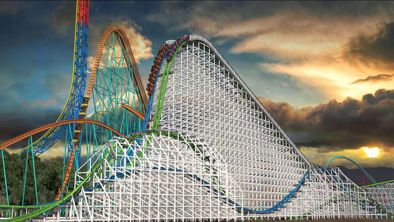 An overview image of Twisted Colossus, which replaces Six Flags Magic Mountain's famed wooden roller coaster Colossus.