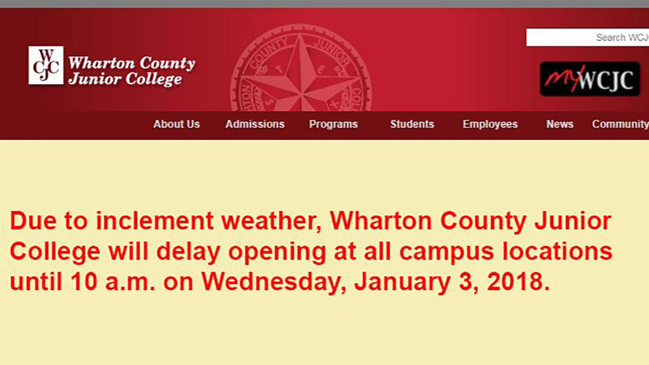 Wharton Co. Jr. College Operating On Delayed Schedule