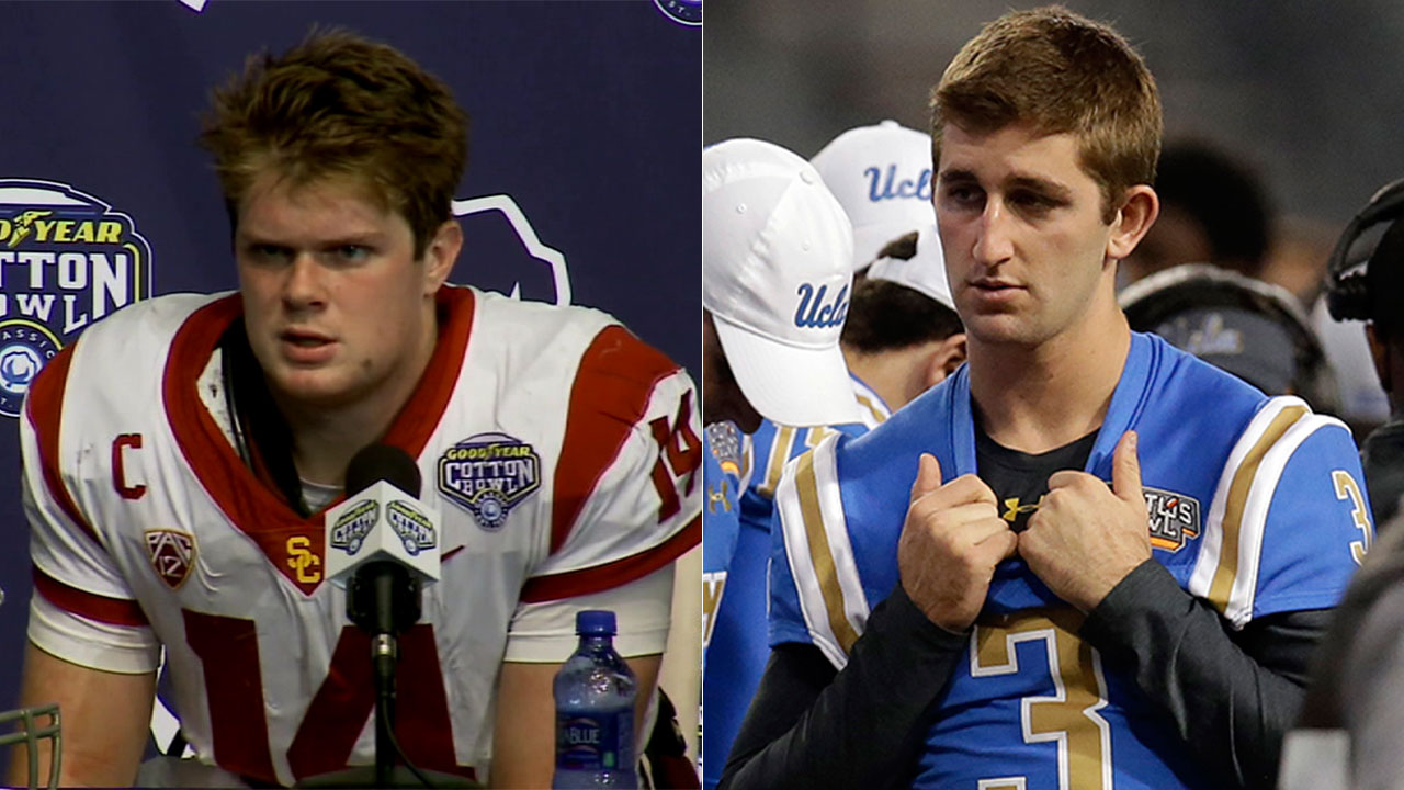 Quarterbacks Sam Darnold of USC (left) and Josh Rosen of UCLA (right) announced Wednesday they are declaring for the 2018 NFL draft.