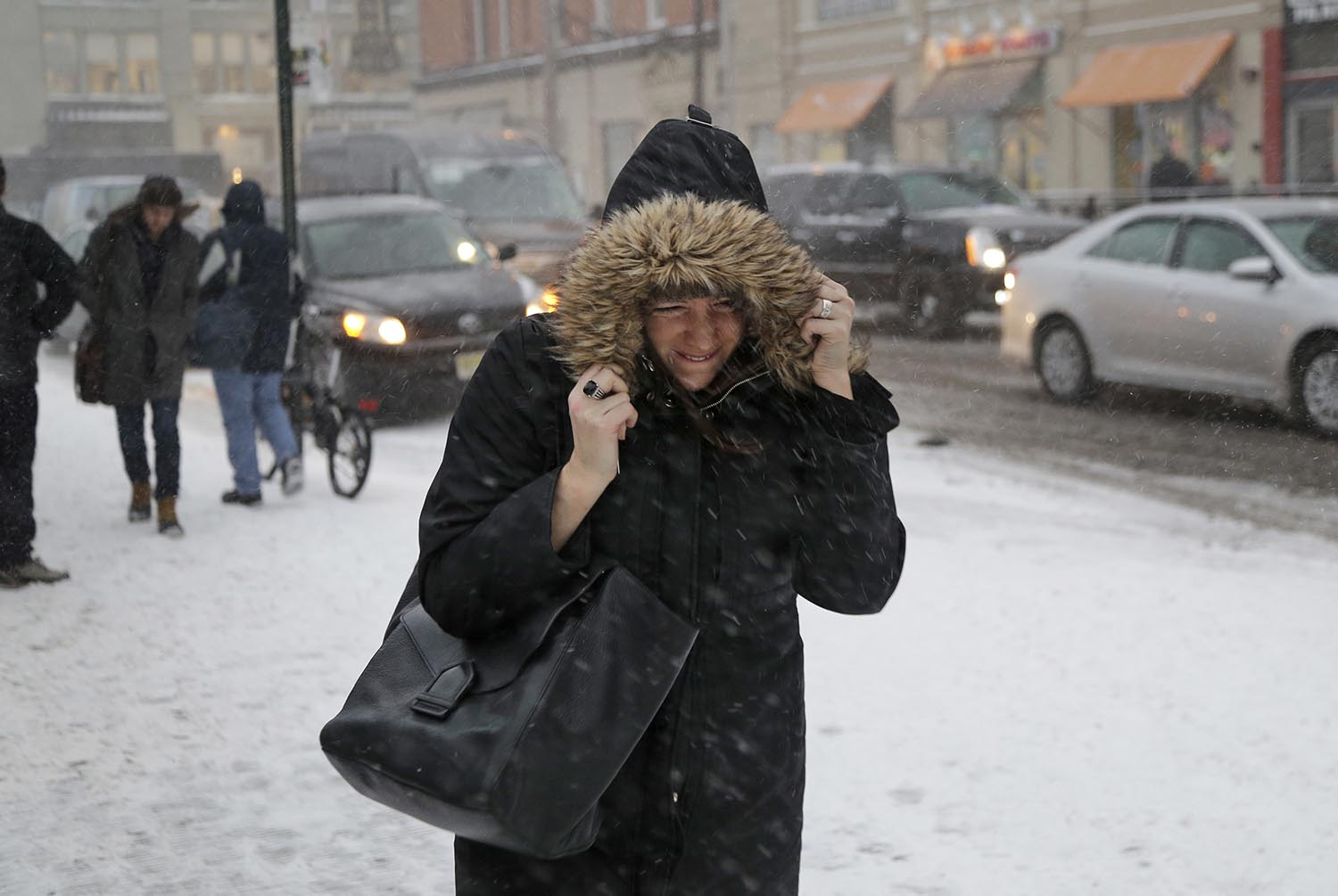 "<div class=""meta image-caption""><div class=""origin-logo origin-image ap""><span>AP</span></div><span class=""caption-text"">A woman walks through the snow and wind as she makes her way to the train station in Hoboken, N.J., Thursday, Jan. 4, 2018. (AP Photo/Seth Wenig)</span></div>"