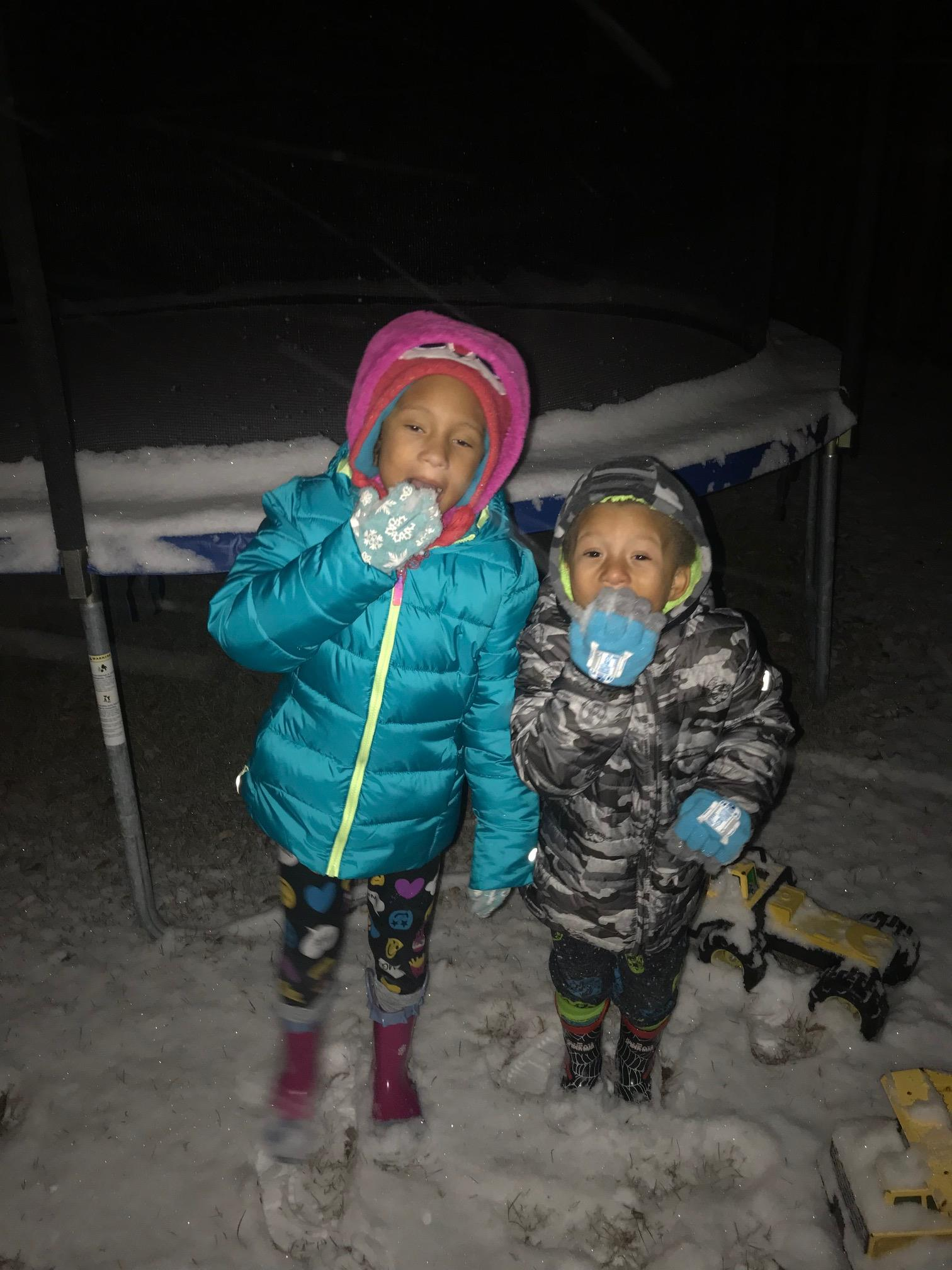 "<div class=""meta image-caption""><div class=""origin-logo origin-image none""><span>none</span></div><span class=""caption-text"">Savannah and Chance enjoying the snow (Credit: Melanie Livingston)</span></div>"