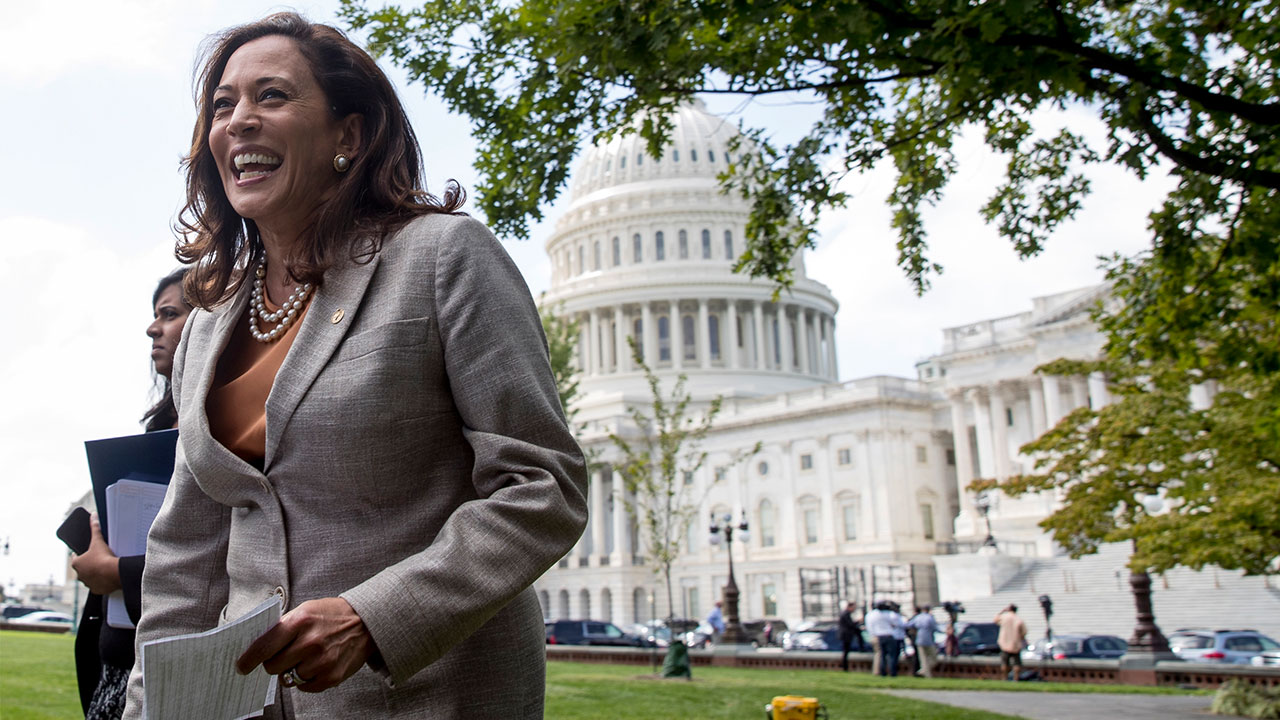 Sen. Kamala Harris, D-Calif., arrives at a rally of health care advocates, grassroots activists, and others outside the Capitol in Washington, Tuesday, Sept. 19, 2017.