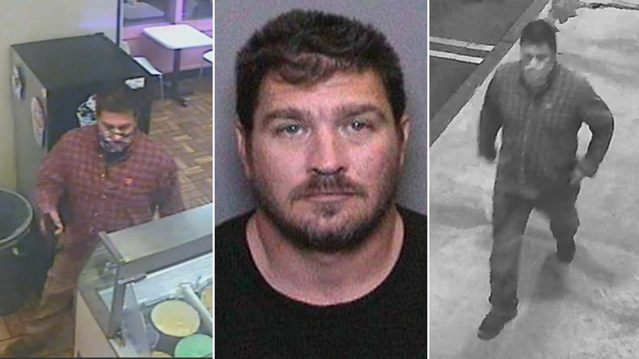 Matthew Scott Rendon, 36, is seen in surveillance images and a booking photo provided by the Orange County Sheriff's Department.