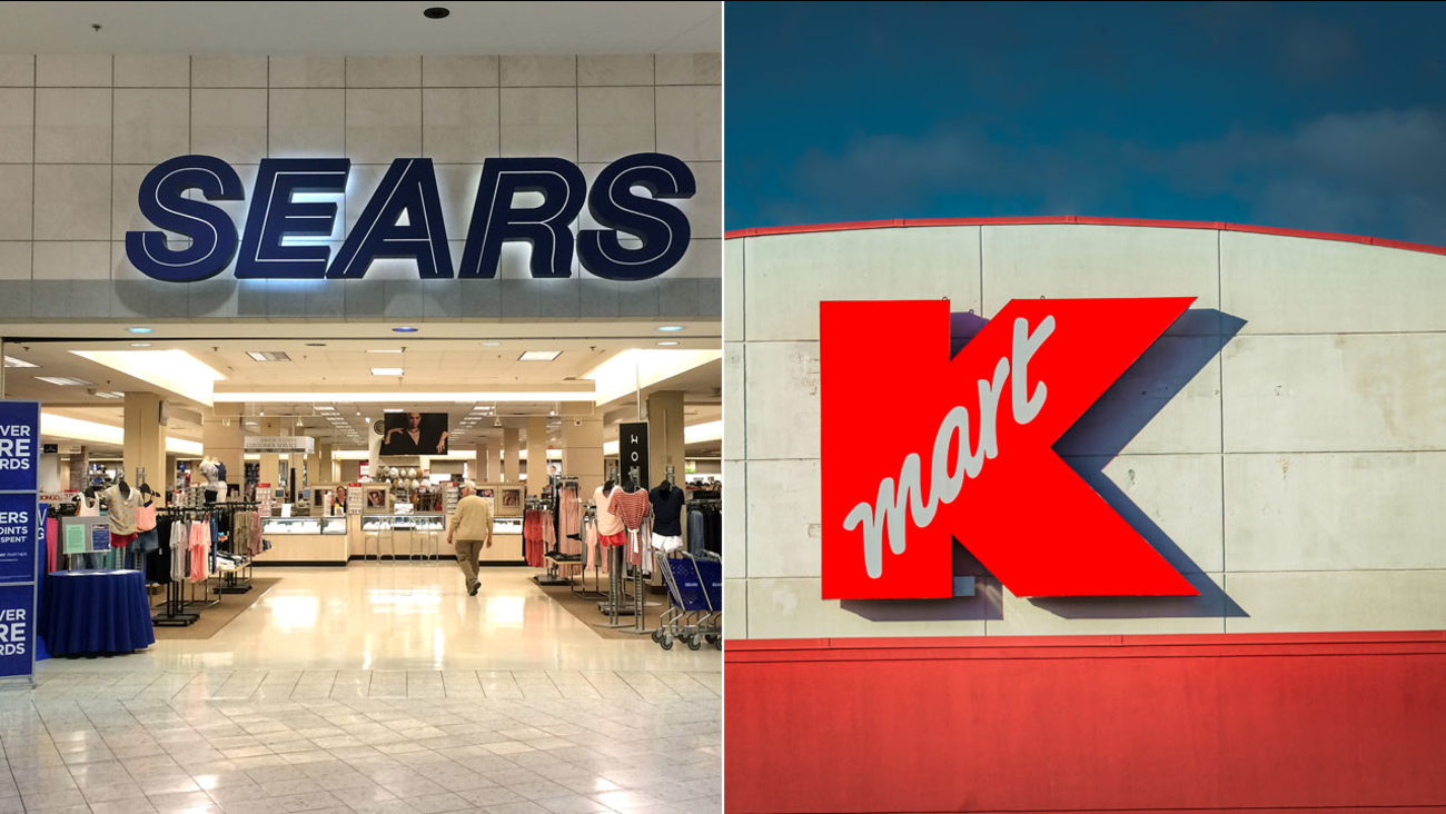 The sign for Sears and Kmart are shown in file photos.