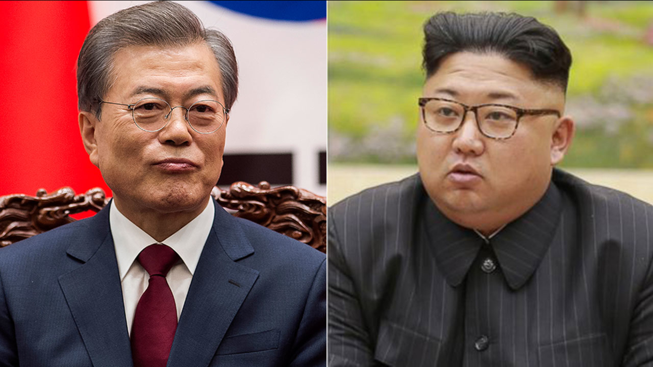 South Korea's President Moon Jae-In (left) is pictured speaking in Seoul on May 10, 2017. North Korea's leader Kim Jong-Un (right) is shown in an undated file image.