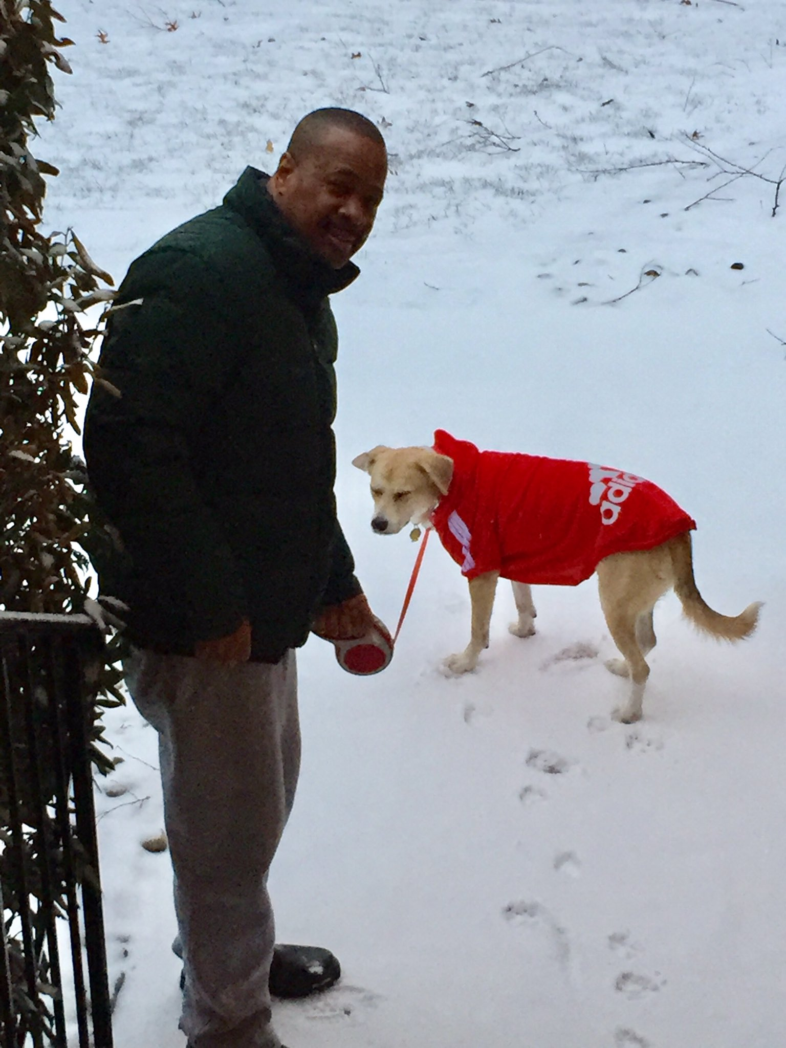 "<div class=""meta image-caption""><div class=""origin-logo origin-image none""><span>none</span></div><span class=""caption-text"">Rick Williams took Olivia for a morning walk, and neither one looks too happy about it.</span></div>"