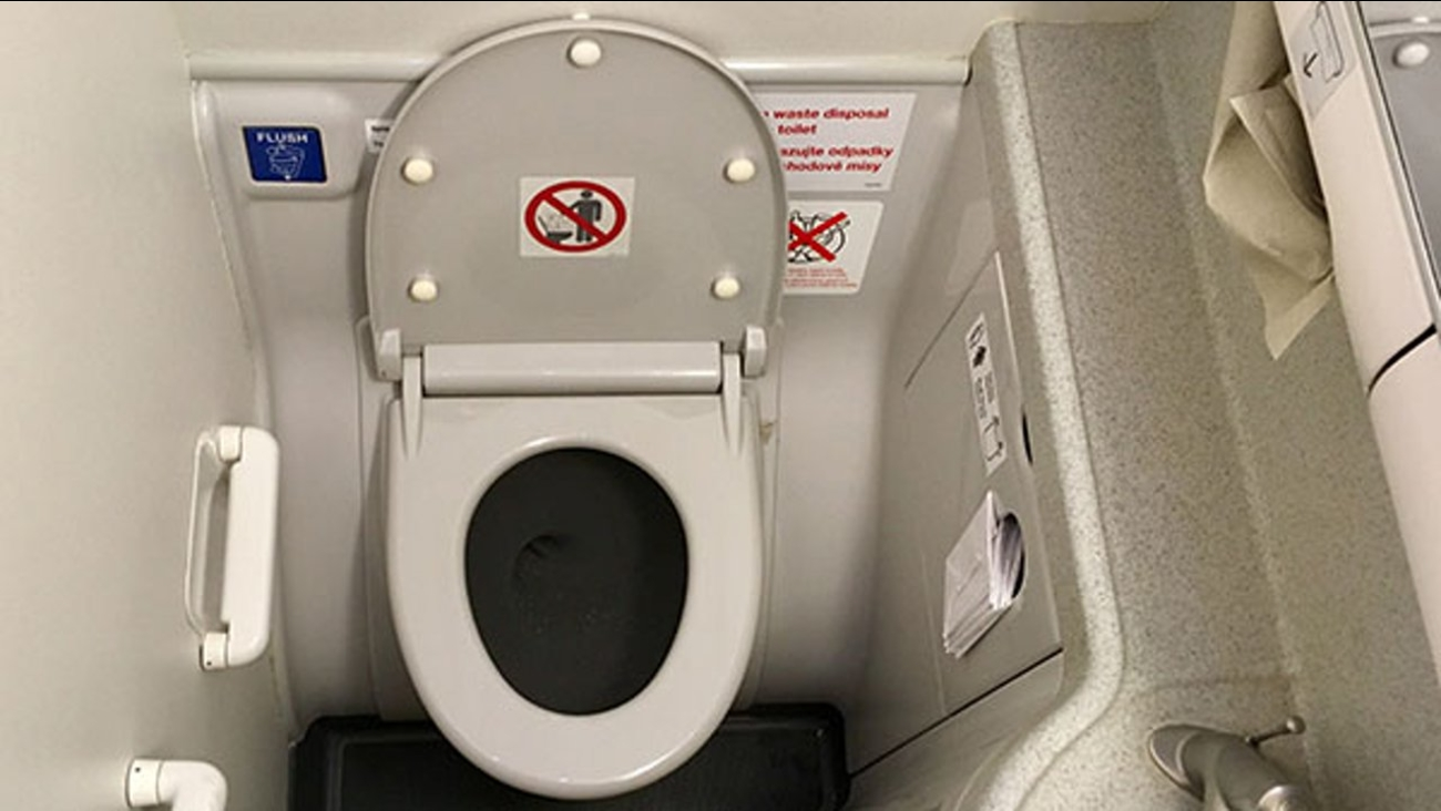 Photo of a lavatory in commercial airplane.